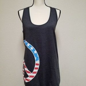 Women's patriotic flag tank with peace sign size L